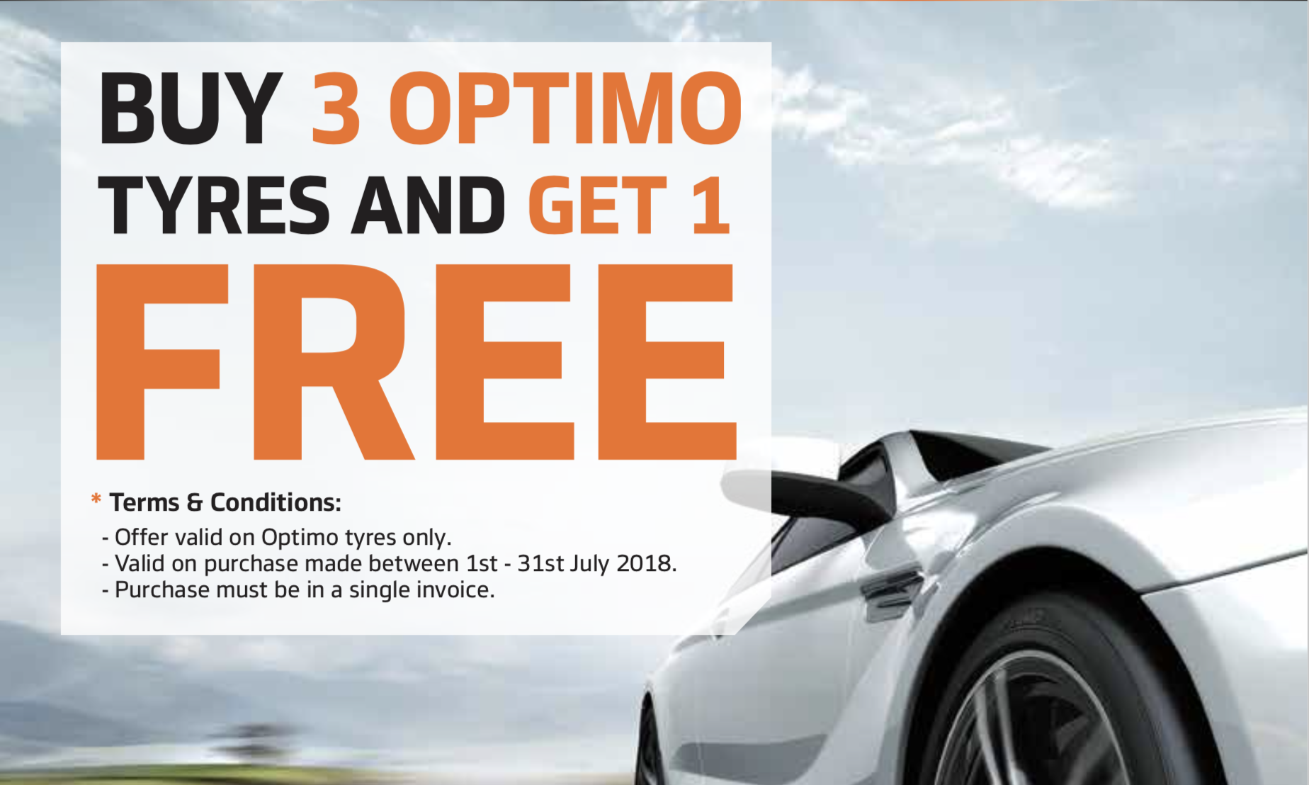 Buy 3 Optimo Tyres and get the 4th FREE