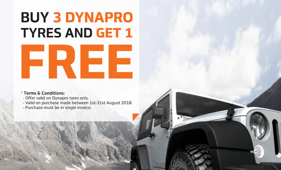 Buy 3 Dynapro Tyres and get the 4th FREE