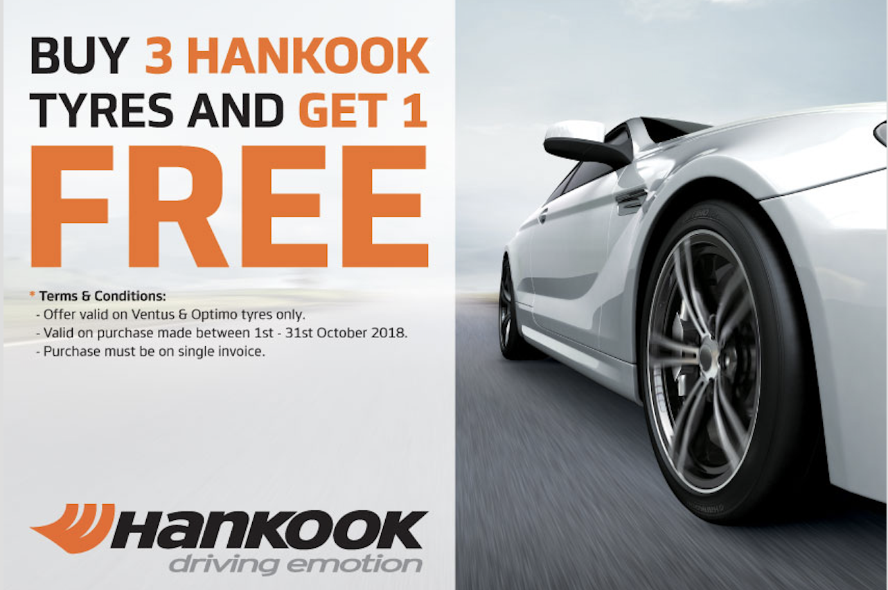 Buy 3 Hankook Ventus & Optimo and get 1 FREE