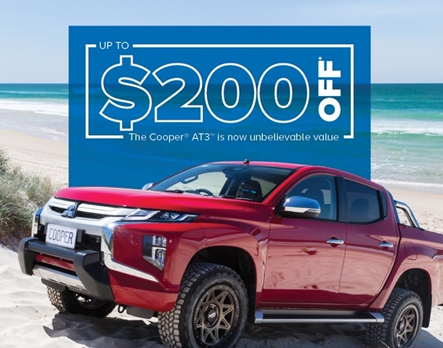 Save up to $200 off a set of 4 Cooper AT3s